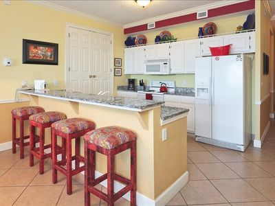 Orange Beach condo rental - Large kitchen with granite counters