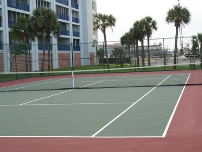 Lighted tennis courts.