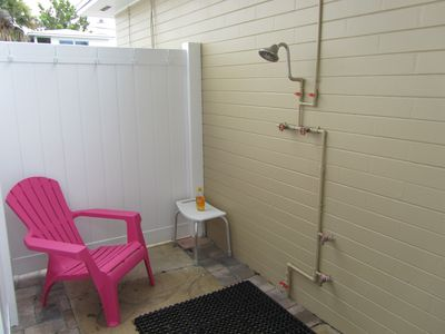 The new Outside Shower inside the Lounge Area but within a privacy fence