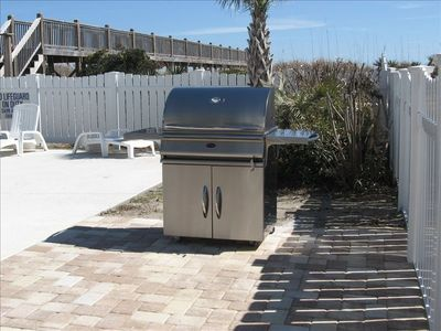 New poolside stainless grill for great lunches and barbeque with friends
