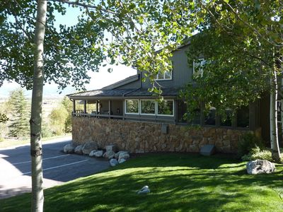 Exterior View, Beautiful Landscaping, Large Aspens and Evergreens