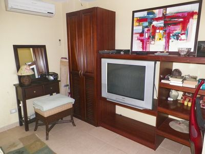 TV with DVD player in bedroom