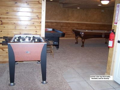 Bear Lake cabin rental - Full size pool table, air hockey table and foos ball. Let the games begin.