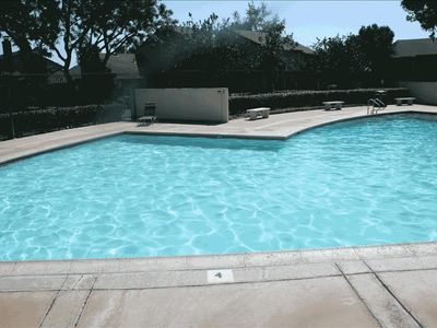 Large pool and spa in a gated setting.