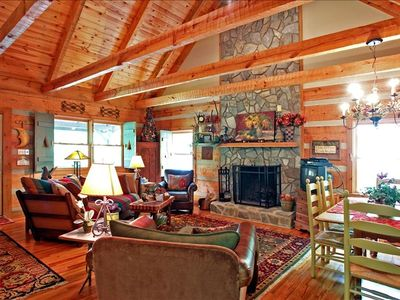Large Great Room w. 2-story wood-burning fireplace and large comfy furniture