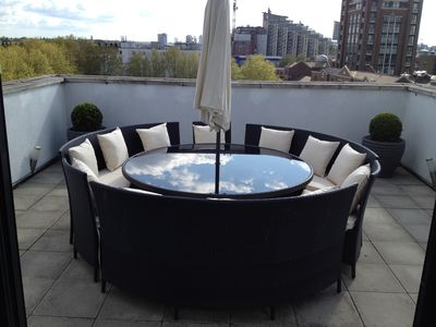fantastic terrace with Rattan table and chairs