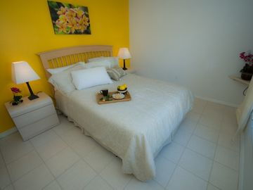 Sunny Orchid Room - queen bedroom, flat screen TV