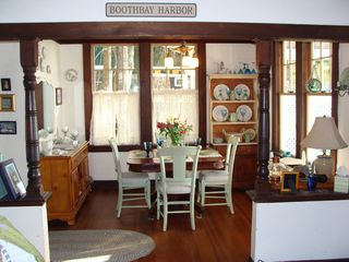 Boothbay Harbor cottage photo - Dining area with gorgeous ocean views and room for 4 - 8.