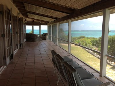 Green Turtle Cay house rental - South facing patio with view from every door and seat in the house.
