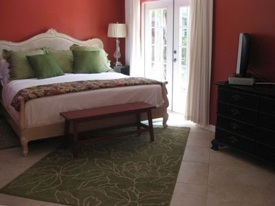 Anna Maria house rental - King bedroom with HDTV Flat Screen and French Doors to Patio, Pool & Spa