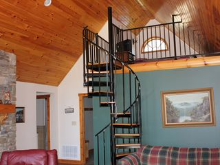 Athens - Sleepy Hollow Lake cabin photo - Kids love spiral stairs to loft with futon bed and cable TV