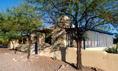Casa Encantada, our beautiful adobe home in the West Tucson desert.