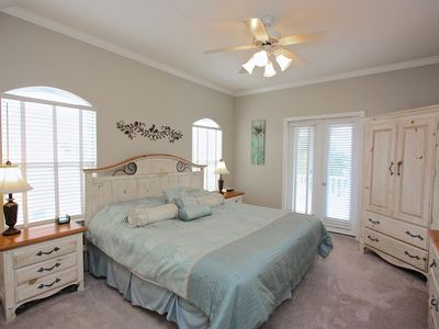 Second floor king bedroom suit, tv, dvd, large closet, french doors to balcony