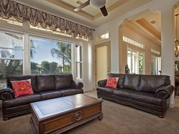 Casual living room with backyard/golf course view