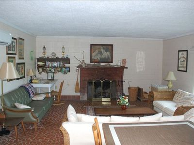 Living room area and fireplace