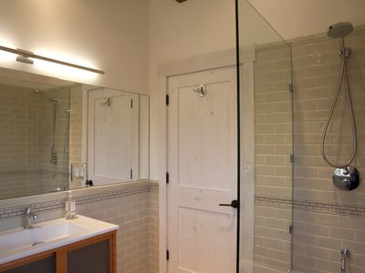 The master bathroom with Sonia vanity, Grohe shower, Duravit tub & Toto toilet.