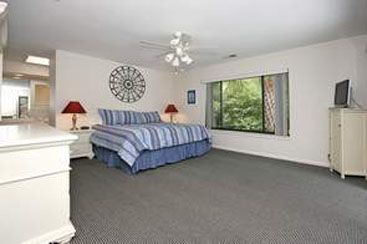 View of large master bedroom with plasma TV and DVD player