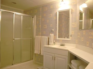 Private master bath has dual sinks and a large shower.