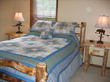 Upstairs Bedroom With Queen Size Rustic Aspen Wood