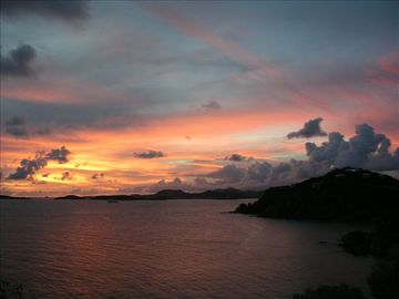 Dramatic sunsets viewed from the deck at Tre Scalini - to soothe your tired sole