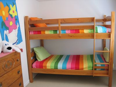 Eight twin beds in the bunk room.