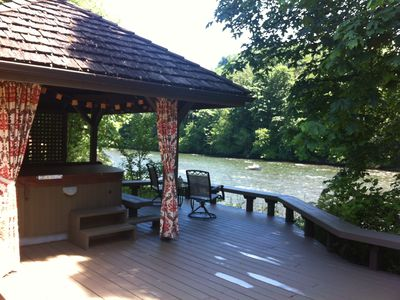 Hot tub gazebo... Relax... listen to the river, Pandora or watch the HD/TV