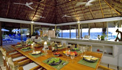 Enjoy dining and the wonderful ocean view.