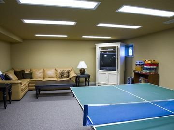 Finished basement with games
