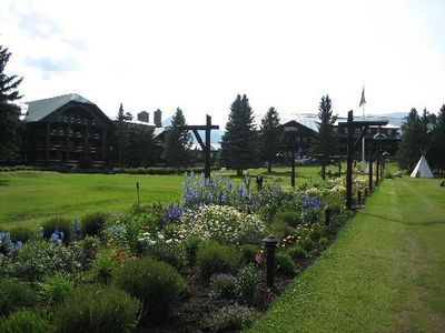 Glacier Park Lodge--its gardens and grandeur are a few blocks from the cabin.