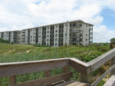 View from beach access toward our condo at building end...close & convenient !