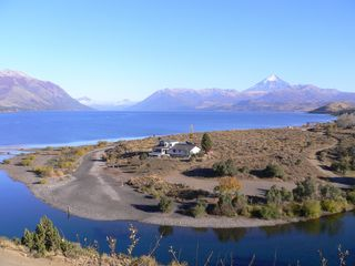 Neuquen lodge photo - Lago Huechulafquen, Chimehuin River mouth and Lanin Volcano.