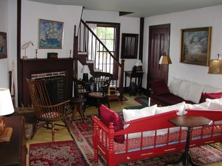 Machiasport cottage photo - The spacious living room with fireplace