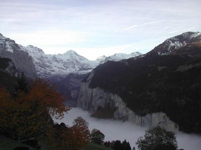 Wengen chalet rental - mist in Lauterbrunnen valley below chalet