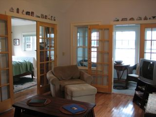 Wiscasset cottage photo - Living Room with pull-out chair and futon