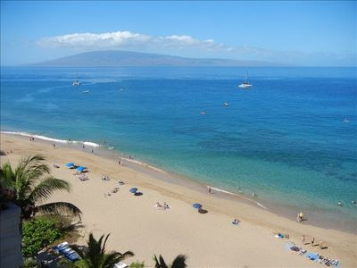 Scan a bit more to the left to view the island of Lanai and Kaanapali Beach