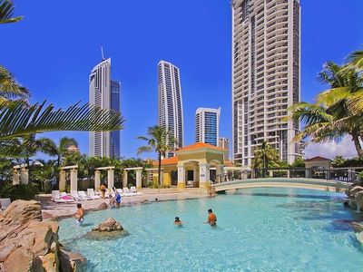 Surfers Paradise apartment rental - Salt water lagoon pool