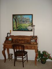 Bozeman house photo - Master bedroom desk and original oil painting of the Story Mansion