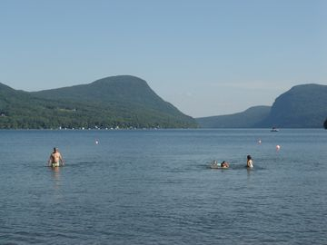 Swimming at the shallow beach at the north end of Willoughby
