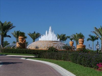 Beautiful neighborhood entrance fountain