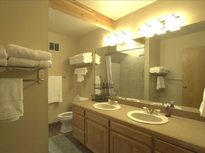 Spacious Luxury Bathrooms with new towels