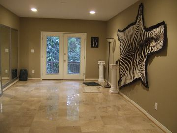 Bonus Room with Italian marble floors with access to deck and garage