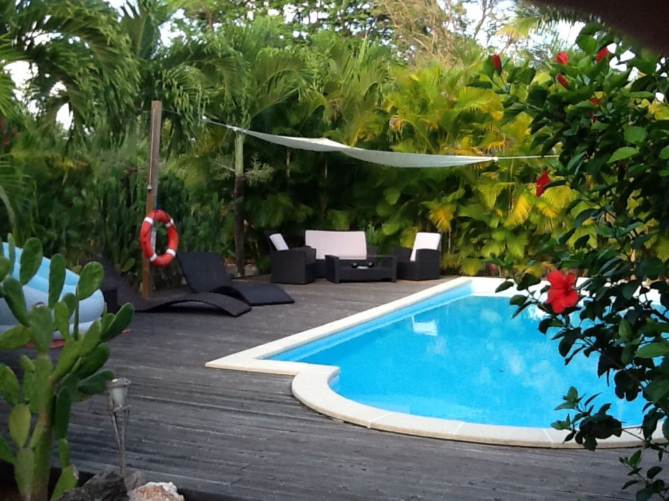 Bungalow bois avec piscine privative dans jardin tropical for Jardin tropical guadeloupe