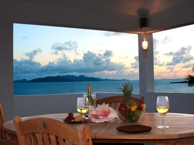 Enjoy Spectacular panoramic sunset views of St Martin, St Barths every day.