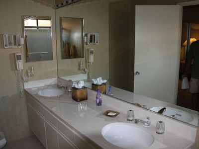 Guest bath with double sink, shower and bidet