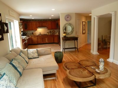 Plenty of room to be together in the large family room kitchen. Separate pantry.