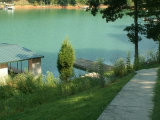 La Follette cottage photo - Sidewalk to dock & view of cove