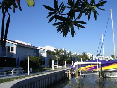 View of boat slips and condo