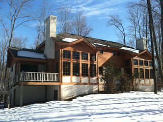 Boyne Mountain condo rental - Lovely back view of our condo (left side) facing towards the mountain