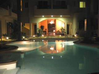 Playa del Carmen condo photo - Pool at night