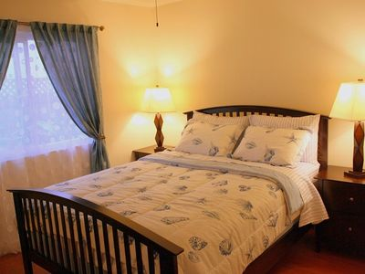 Guest Bedroom has High Quality Brand New Queen Bed with Plush Mattress.